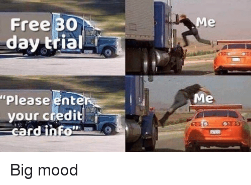 """Mood, Free, and Dank Memes: Free 30  day trial  """"Please enter  your credid  Me Big mood"""