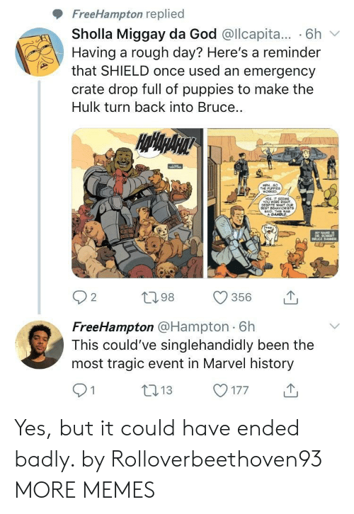 Dank, God, and Memes: FreeHampton replied  Sholla Miggay da God @llcapita... 6h  Having a rough day? Here's a reminder  that SHIELD once used an emergency  crate drop full of puppies to make the  Hulk turn back into Bruce  O-  2  098 356  FreeHampton @Hampton 6h  This could've singlehandidly been the  most tragic event in Marvel history  013177 Yes, but it could have ended badly. by Rolloverbeethoven93 MORE MEMES