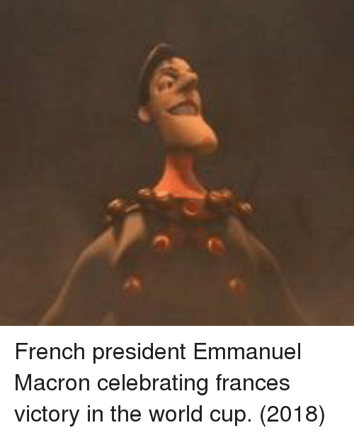 Emmanuel Macron: French president Emmanuel Macron celebrating frances victory in the world cup. (2018)