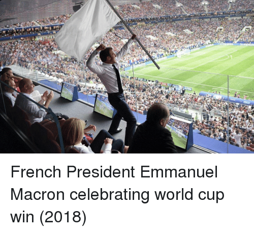 World Cup, World, and French: French President Emmanuel Macron celebrating world cup win (2018)