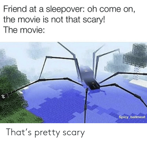 Movie, Sleepover, and Spicy: Friend at a sleepover: oh come on,  the movie is not that scary!  The movie:  Spicy ballmeat That's pretty scary
