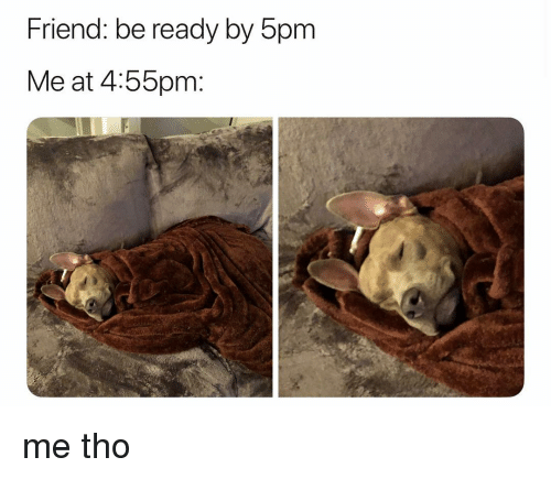 Girl Memes, Friend, and  Ready: Friend: be ready by 5pm  Me at 4:55pm: me tho