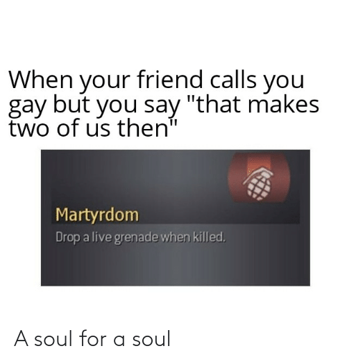"""Live, Dank Memes, and Martyrdom: friend calls you  When  your  gay but you say """"that makes  two of us then""""  Martyrdom  Drop a live grenade when killed. A soul for a soul"""