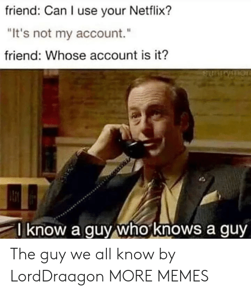 """Dank, Memes, and Netflix: friend: Can I use your Netflix?  """"It's not my account.""""  friend: Whose account is it?  know a guy who knows a guy The guy we all know by LordDraagon MORE MEMES"""