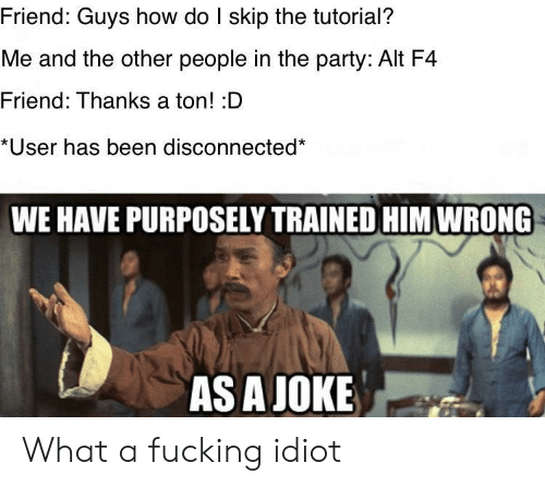 Fucking, Party, and Idiot: Friend: Guys how do I skip the tutorial?  Me and the other people in the party: Alt F4  Friend: Thanks a ton! :D  *User has been disconnected*  WE HAVE PURPOSELY TRAINED HIM WRONG  AS A JOKE What a fucking idiot