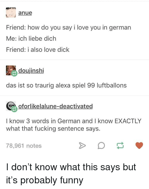 3 Words: Friend: how do you say i love you in german  Me: ich liebe dich  Friend: i also love dick  doujinshi  das ist so traurig alexa spiel 99 luftballons  oforlikelalune-deactivated  I know 3 words in German and I know EXACTLY  what that fucking sentence says.  78,961 notes I don't know what this says but it's probably funny