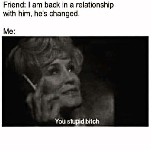 Bitch, Relationships, and In a Relationship: Friend: I am back in a relationship  with him, he's changed.  Me:  You stupid bitch