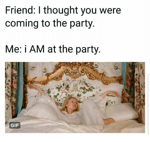 party gif: Friend: I thought you were  coming to the party  Me: i AM at the party  GIF