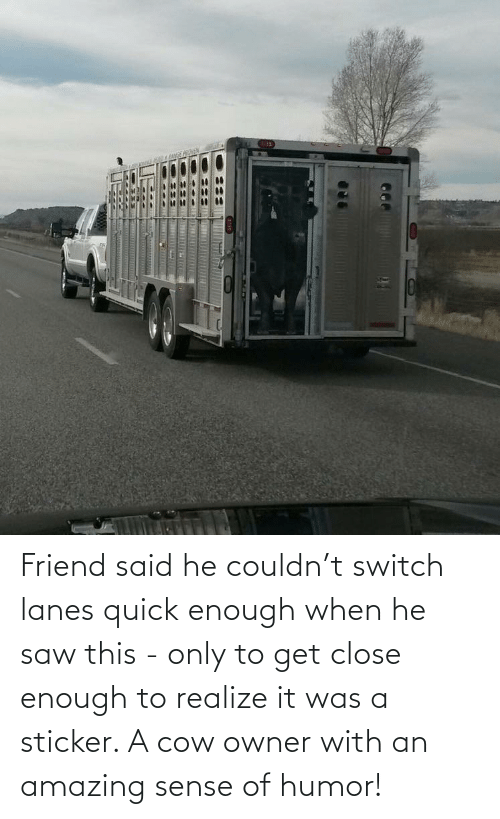 With: Friend said he couldn't switch lanes quick enough when he saw this - only to get close enough to realize it was a sticker. A cow owner with an amazing sense of humor!