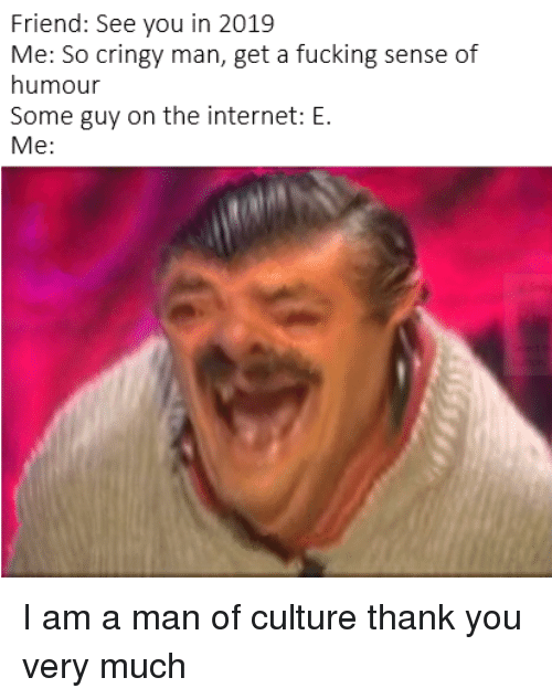 Fucking, Internet, and Thank You: Friend: See you in 2019  Me: So cringy man, get a fucking sense of  humour  Some guy on the internet: E.  Me: I am a man of culture thank you very much