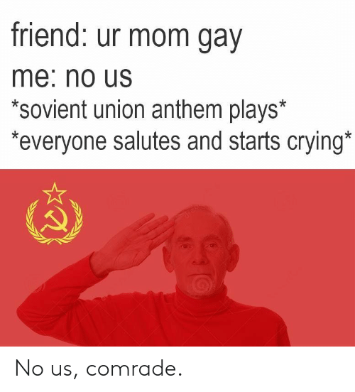 Gav: friend: ur mom gav  me: no Us  *sovient union anthem plays*  everyone salutes and starts crying No us, comrade.
