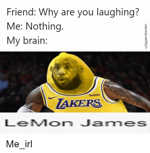 Brain, Irl, and Me IRL: Friend: Why are you laughing?  Me: Nothing.  My brain:  wish  TAKERS  LeMon James Me_irl