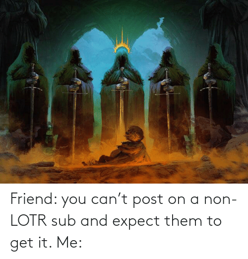 it-me: Friend: you can't post on a non-LOTR sub and expect them to get it. Me: