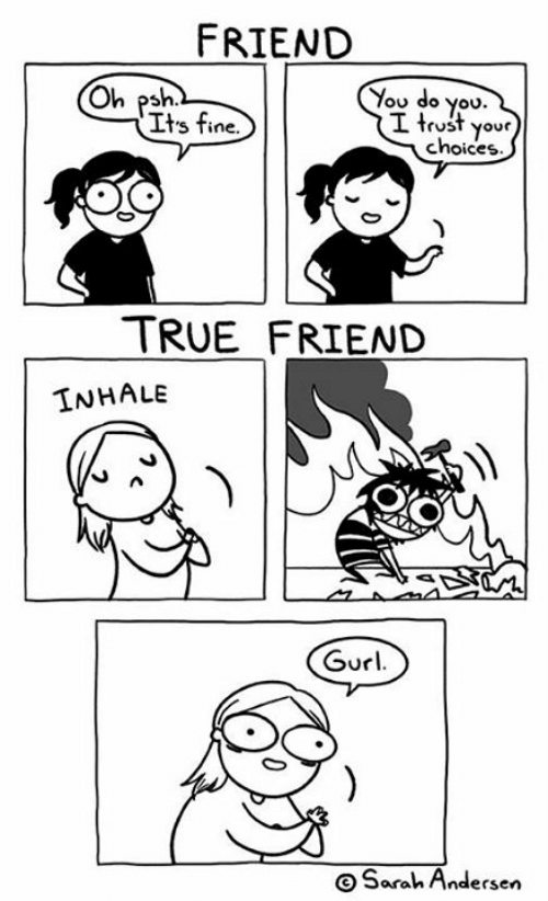 You Do You: FRIEND  You do you.  I trust your  choices  Oh psh  Its fine.  TRUE FRIEND  INHALE  Gurl  OSarah Andersen