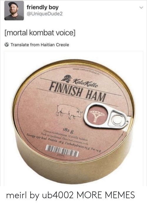 Kal: friendly boy  @UniqueDude2  [mortal kombat voice]  Translate from Haitian Creole  FINNISH HAM  182 g  Energy,97 kal Prolein #x Carbohydrates yg Fah4 meirl by ub4002 MORE MEMES