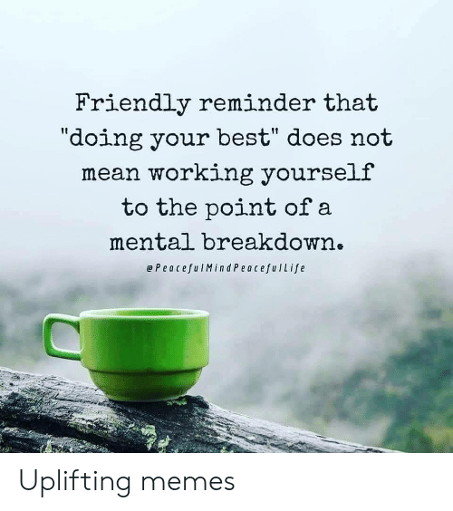 "Uplifting Memes: Friendly reminder that  ""doing your best"" does not  mean working yourself  to the point of a  mental breakdown.  ePeacefulMind PeacefulLife Uplifting memes"
