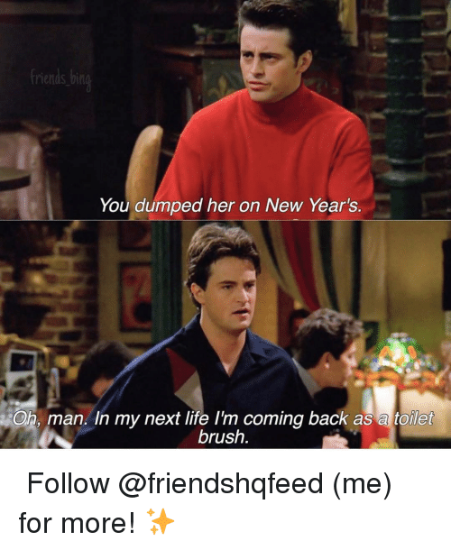 Friends, Life, and Memes: friends bing  You dumped her on New Year's.  Oh, man. In my next life I'm coming back as a toilet  brush ↳ Follow @friendshqfeed (me) for more! ✨