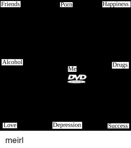 Drugs, Friends, and Love: Friends  Porn  Happiness  Alcohol  Drugs  Me  Love  Depression  Success meirl