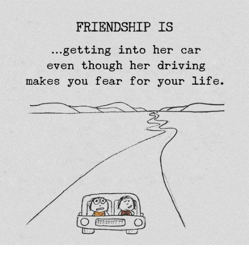 Driving, Life, and Fear: FRIENDSHIP IS  ...getting into her car  even though her driving  makes you fear for your life.
