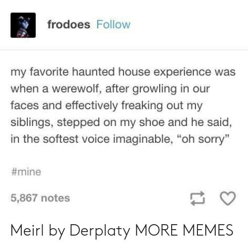 "Dank, Memes, and Sorry: frodoes Follow  my favorite haunted house experience was  when a werewolf, after growling in our  faces and effectively freaking out my  siblings, stepped on my shoe and he said,  in the softest voice imaginable, ""oh sorry""  #mine  5,867 notes Meirl by Derplaty MORE MEMES"