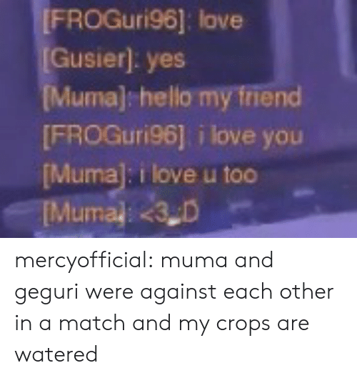 Hello, Love, and Tumblr: FROGuri96]: love  Gusier]: yes  uma) hello my friend  FROGuri96] i love you  Muma]: i love u too mercyofficial: muma and geguri were against each other in a match and my crops are watered