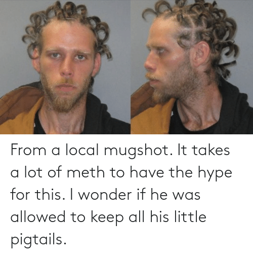 mugshot: From a local mugshot. It takes a lot of meth to have the hype for this. I wonder if he was allowed to keep all his little pigtails.