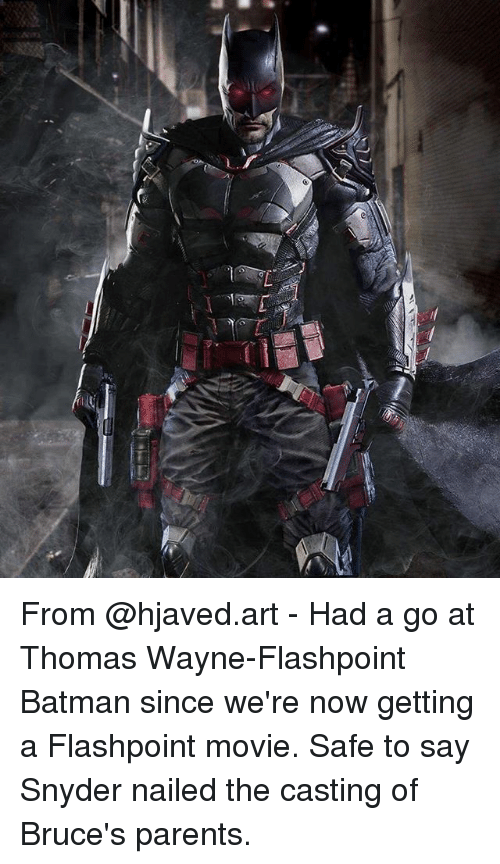 the casting: From @hjaved.art - Had a go at Thomas Wayne-Flashpoint Batman since we're now getting a Flashpoint movie. Safe to say Snyder nailed the casting of Bruce's parents.