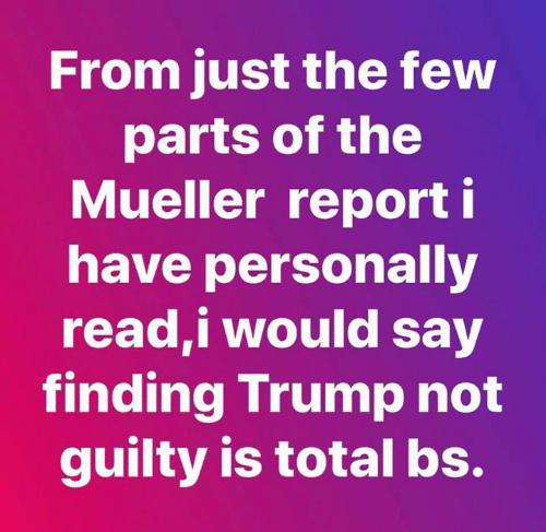 i would say: From just the few  parts of the  Mueller report i  have personally  read,i would say  finding Trump not  guilty is total bs.