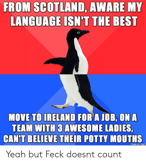 Yeah, Best, and Imgur: FROM SCOTLAND, AWARE MY  LANGUAGE ISN'T THE BEST  MOVE TO IRELAND FOR A JOB, ON A  TEAM WITH 3 AWESOME LADIES,  CAN'T BELIEVE THEIR POTTY MOUTHS  made on imgur Yeah but Feck doesnt count