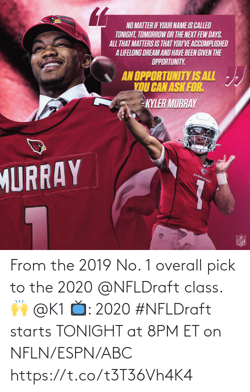 8Pm: From the 2019 No. 1 overall pick to the 2020 @NFLDraft class. 🙌 @K1   📺: 2020 #NFLDraft starts TONIGHT at 8PM ET on NFLN/ESPN/ABC https://t.co/t3T36Vh4K4