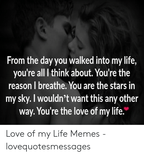 Love Of My Life Meme: From the day you walked into my life,  you're all I think about. You're the  reason I breathe. You are the stars in  my sky. I wouldn't want this any other  way. You're the love of my life. Love of my Life Memes - lovequotesmessages