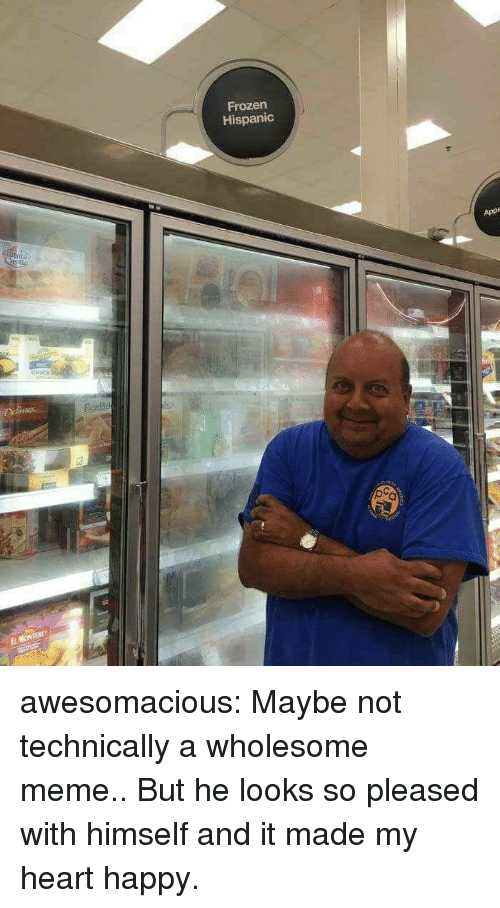 Frozen, Meme, and Tumblr: Frozen  Hispanic  App  CHICK  El awesomacious:  Maybe not technically a wholesome meme.. But he looks so pleased with himself and it made my heart happy.