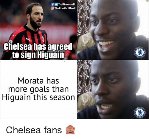 Chelsea, Goals, and Memes: fTrollFootball  Q TheFootballTroll  Clielsea has agreed  to signi Higuain  ELSE  ,BALL C  Morata has  more goals than  Higuain this season  ELS Chelsea fans 🙈