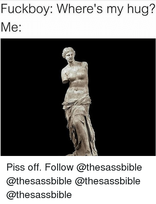 Fuckboy, Memes, and 🤖: Fuckboy: Where's my hug?  Me: Piss off. Follow @thesassbible @thesassbible @thesassbible @thesassbible