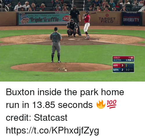 arie: Fudge, Peanut Batter, and carame  TripleTruffle  TARGET  FIELD  DIVERSITY  S2  GODLEY  BUXTON  P: 65  1 FOR 1  ARI 3 4  MIN 2 3-2 Buxton inside the park home run in 13.85 seconds 🔥💯    credit: Statcast https://t.co/KPhxdjfZyg
