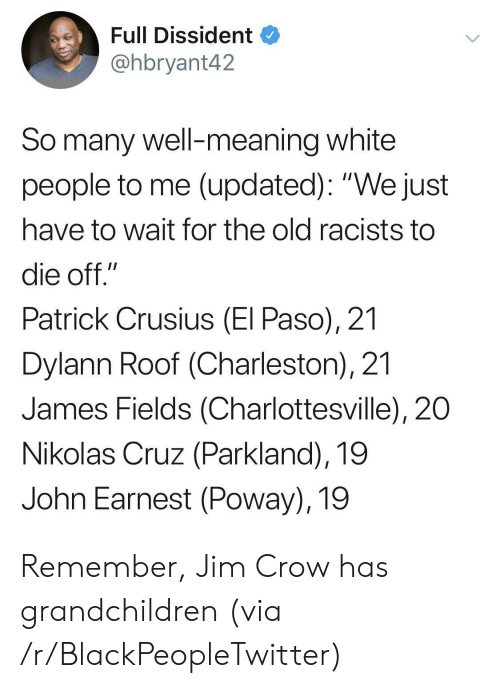 "Blackpeopletwitter, White People, and Charleston: Full Dissident  @hbryant42  So many well-meaning white  people to me (updated): ""We just  have to wait for the old racists to  die off.""  Patrick Crusius (El Paso), 21  Dylann Roof (Charleston), 21  James Fields (Charlottesville), 20  Nikolas Cruz (Parkland), 19  John Earnest (Poway), 19 Remember, Jim Crow has grandchildren (via /r/BlackPeopleTwitter)"