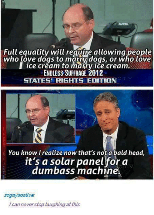 Bald Headed: Full equality will reguire allowing people  who love dogs to marry dogs, or who love  I ice cream to marry ice cream.  ENDLESS SUFFRAGE 2012  STATES' RIGHTS EDITION  You know I realize now that's not a bald head,  it's a solar panel for a  dumbass machine.  sogaysoalive  /can never stop laughing at this