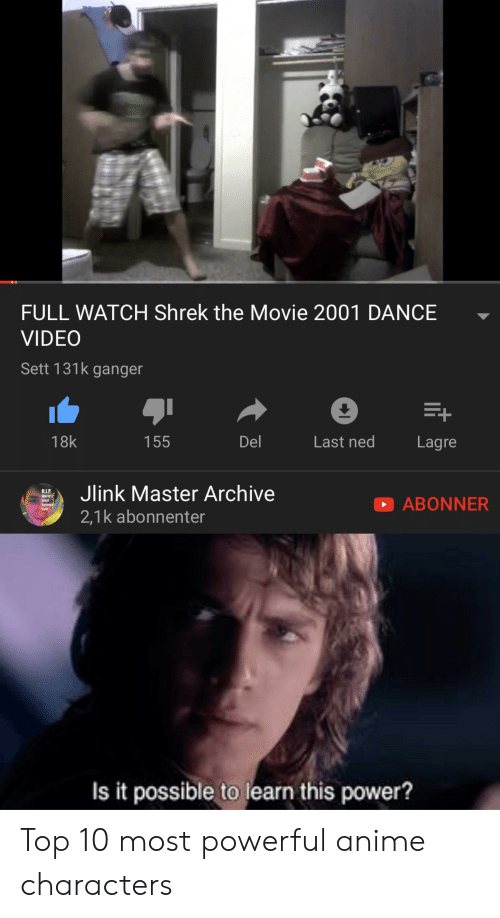 Most Powerful Anime Characters: FULL WATCH Shrek the Movie 2001 DANCE  VIDEO  Sett 131k ganger  E+  Del  18k  155  Last ned  Lagre  Jlink Master Archive  R.I.P  World's  ABONNER  mast  beloved  Irai  2,1k abonnenter  Is it possible to learn this power? Top 10 most powerful anime characters