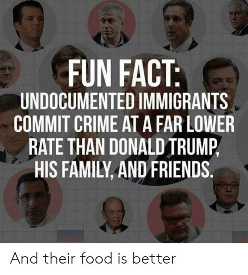 Crime, Donald Trump, and Family: FUN FACT  UNDOCUMENTED IMMIGRANTS  COMMIT CRIME AT A FAR LOWER  RATE THAN DONALD TRUMP,  HIS FAMILY, AND FRIENDS. And their food is better