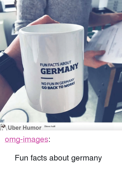 """No Fun: FUN FACTS ABOUT  GERMAN  NO FUN IN GERMAN  GO BACK TO WO  Uber Humor Steve hom <p><a href=""""https://omg-images.tumblr.com/post/160144321081/fun-facts-about-germany"""" class=""""tumblr_blog"""">omg-images</a>:</p>  <blockquote><p>Fun facts about germany</p></blockquote>"""