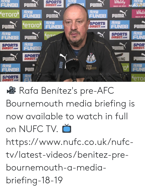 Benitez: FUNBB PUMA.  PUMA  SPORTS  DIRECT  eTorO FUNBB PUMA.  FU  HEALTH LIFE  PORTS  DIRECT.CoMUNE  FUN  pum  SPORTS  DIRECT.coMF  FUN  SPORTS i  DIRECT.com  SPOR  DIRECT  FUNBB  PUMA  SPOR  DIRECT.c  PuMA  LING  FUNBB PUD  FUNEE  SPORTS  DIRECT.CoM 🎥 Rafa Benítez's pre-AFC Bournemouth media briefing is now available to watch in full on NUFC TV.  📺 https://www.nufc.co.uk/nufc-tv/latest-videos/benitez-pre-bournemouth-a-media-briefing-18-19