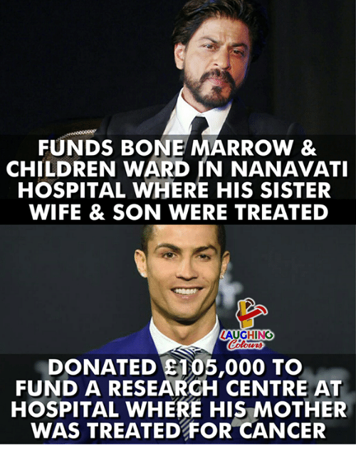 Children, Cancer, and Hospital: FUNDS BONE MARROW 8  CHILDREN WARD IN NANAVATI  HOSPITAL WHERE HIS SISTER  WIFE & SON WERE TREATED  LAUGHING  oti  DONATED ST05,000 TO  FUND A RESEARGH CENTRE AT  HOSPITAL WHERE HIS MOTHER  WAS TREATED FOR CANCER