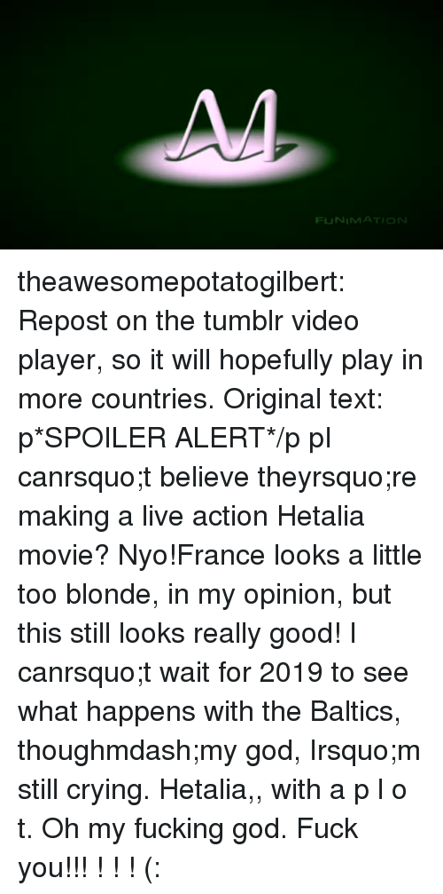 p&l: FUNIMATION theawesomepotatogilbert: Repost on the tumblr video player, so it will hopefully play in more countries.   Original text:  p*SPOILER ALERT*/p  pI canrsquo;t believe theyrsquo;re making a live action Hetalia movie? Nyo!France looks a little too blonde, in my opinion, but this still looks really good! I canrsquo;t wait for 2019 to see what happens with the Baltics, thoughmdash;my god, Irsquo;m still crying. Hetalia,, with a p l o t. Oh my fucking god.   Fuck you!!! ! ! ! (: