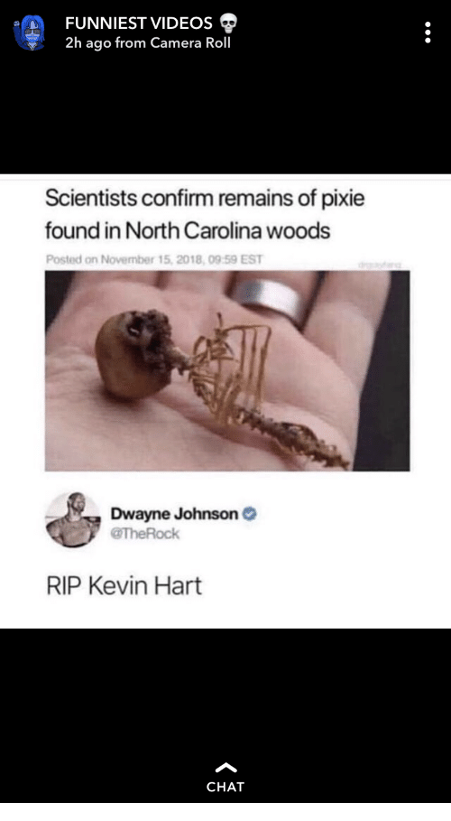North Carolina: FUNNIEST VIDEOS  2h ago from Camera Roll  Scientists confirm remains of pixie  found in North Carolina woods  Posted on November 15, 2018, 09 59 EST  Dwayne Johnson  @TheRock  RIP Kevin Hart  CHAT