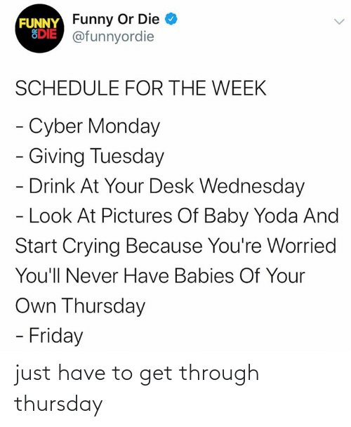 Wednesday: FUNNY Funny Or Die  EDIE @funnyordie  SCHEDULE FOR THE WEEK  - Cyber Monday  - Giving Tuesday  - Drink At Your Desk Wednesday  - Look At Pictures Of Baby Yoda And  Start Crying Because You're Worried  You'll Never Have Babies Of Your  Own Thursday  - Friday just have to get through thursday