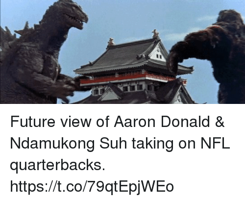 Future, Memes, and Nfl: Future view of Aaron Donald & Ndamukong Suh taking on NFL quarterbacks. https://t.co/79qtEpjWEo