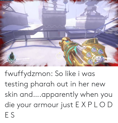 p&l: fwuffydzmon:  So like i was testing pharah out in her new skin and….apparently when you die your armour just  E X P L O D E S