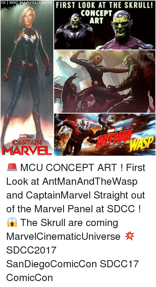 marred: G eDc MAR  IG @DC  RVEL.UNITE  VELONEFIRST LOOK AT THE SKRULL!  CONCEPT  ART  l/  MARVEL STUDIO  CAPTAIN  MARVEL 🚨 MCU CONCEPT ART ! First Look at AntManAndTheWasp and CaptainMarvel Straight out of the Marvel Panel at SDCC ! 😱 The Skrull are coming MarvelCinematicUniverse 💥 SDCC2017 SanDiegoComicCon SDCC17 ComicCon