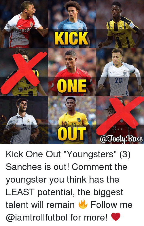 """Memes, 🤖, and One: G Evi  imates  KICK  ONE  OUT  @Jeet Base Kick One Out """"Youngsters"""" (3) Sanches is out! Comment the youngster you think has the LEAST potential, the biggest talent will remain 🔥 Follow me @iamtrollfutbol for more! ❤️"""