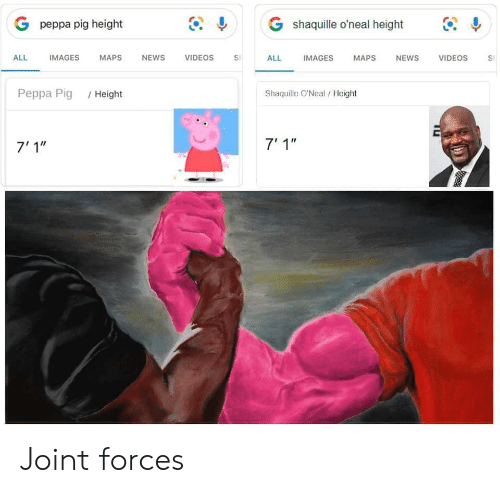 """News, Videos, and Images: G shaquille o'neal height  G peppa pig height  IMAGES  ALL  IMAGES  МAPS  NEWS  VIDEOS  ALL  NEWS  VIDEOS  MAPS  S  Shaquille O'Neal/Height  Реppа Pig  /Height  7' 1""""  7'1"""" Joint forces"""
